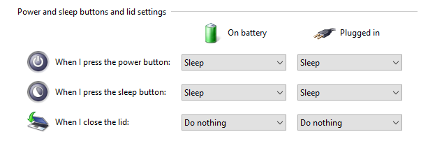 Set options for When I Close the Lid to Do Nothing