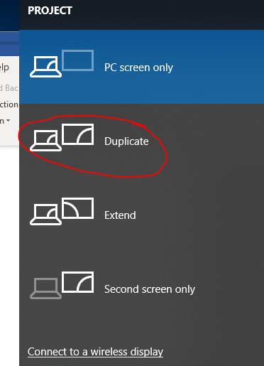 Option to Duplicate Screen to make laptop like a Desktop